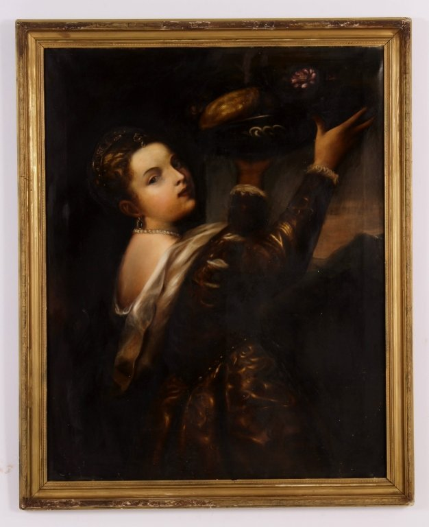 After Titian, Girl with Basket of Fruits, O/C