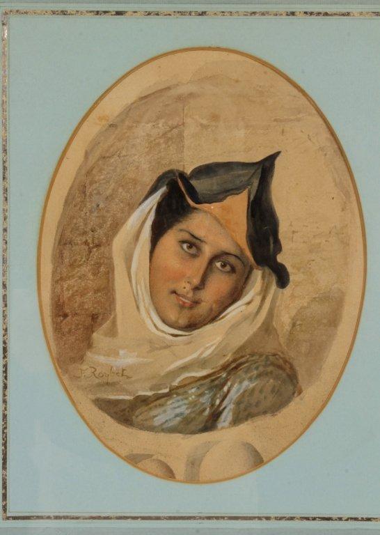 F. Roybet,  Fr., 1840-1920, Medieval Woman, W/C