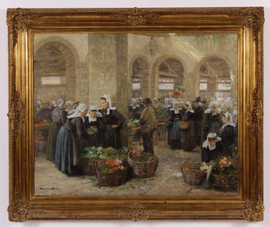 Maurice Grun, Fr., 1869 - 1947, French Market ,O/C