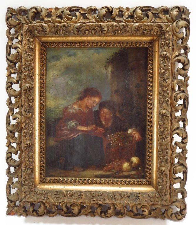 European School, 18th-19th C,The Grape Seller, o/c - 2