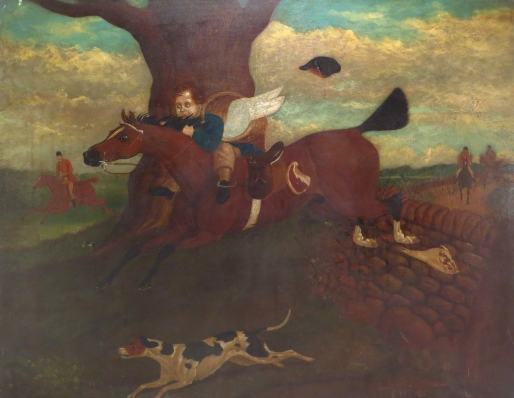 Fox Hunt, O/C, 19th C.