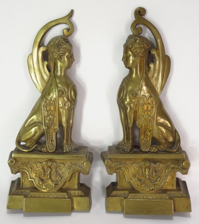 Pair of Brass Sphinx, French, c. 1870