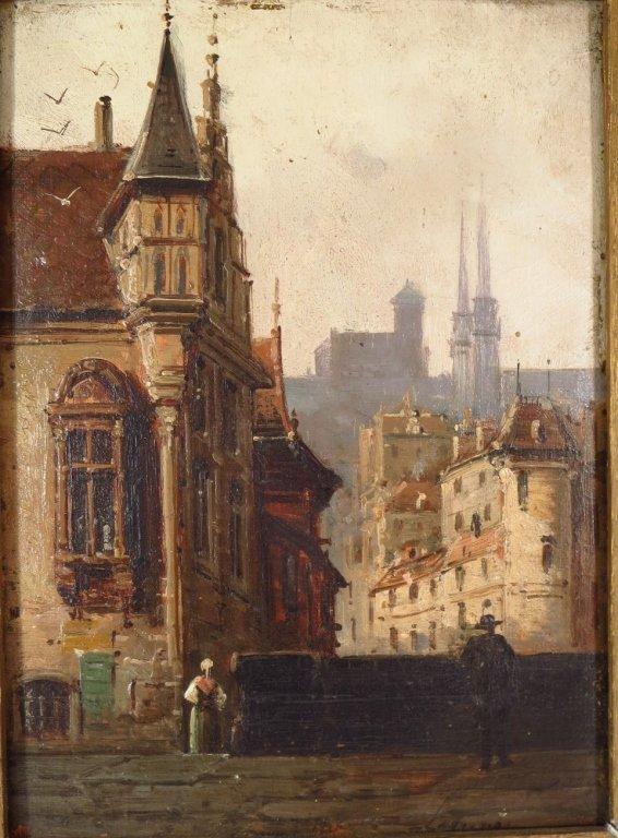 V. Lagrange, 19th Street Scene, O/B. Signed.