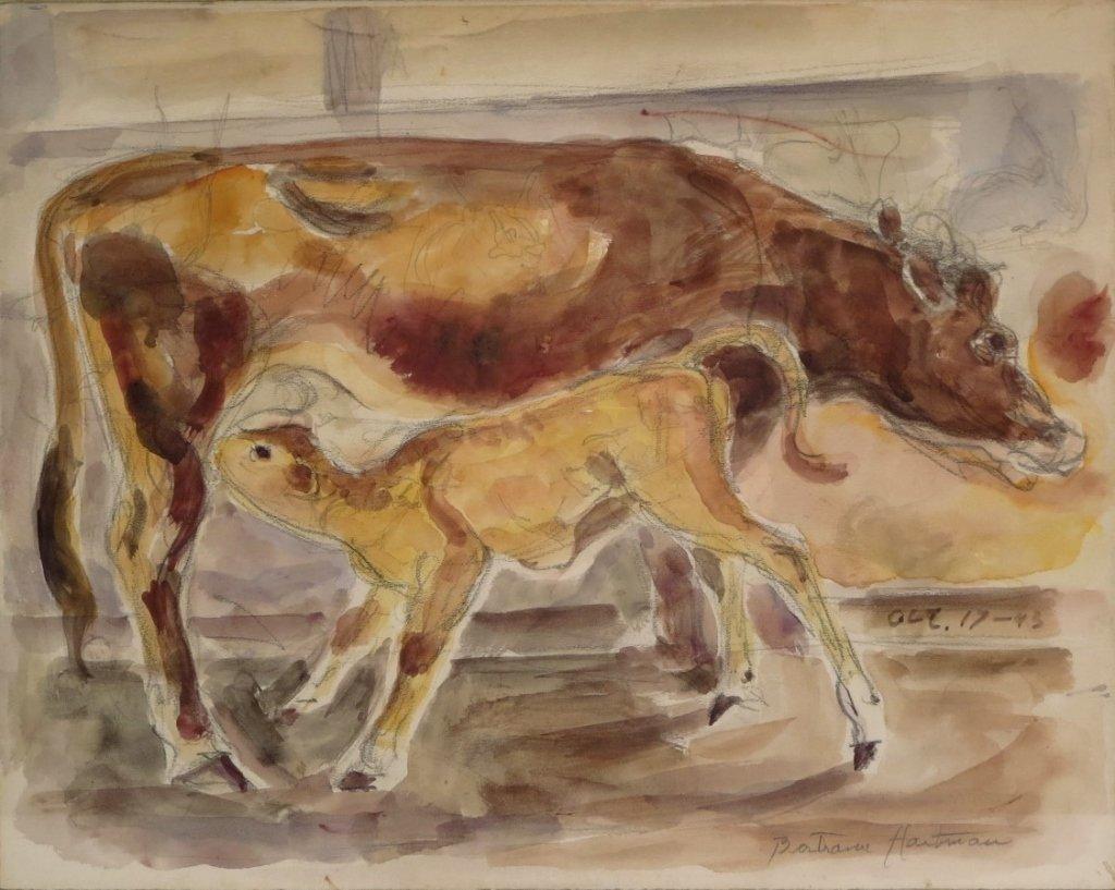 Bertram Hartman, Am., Cow with Calf, w/c on paper