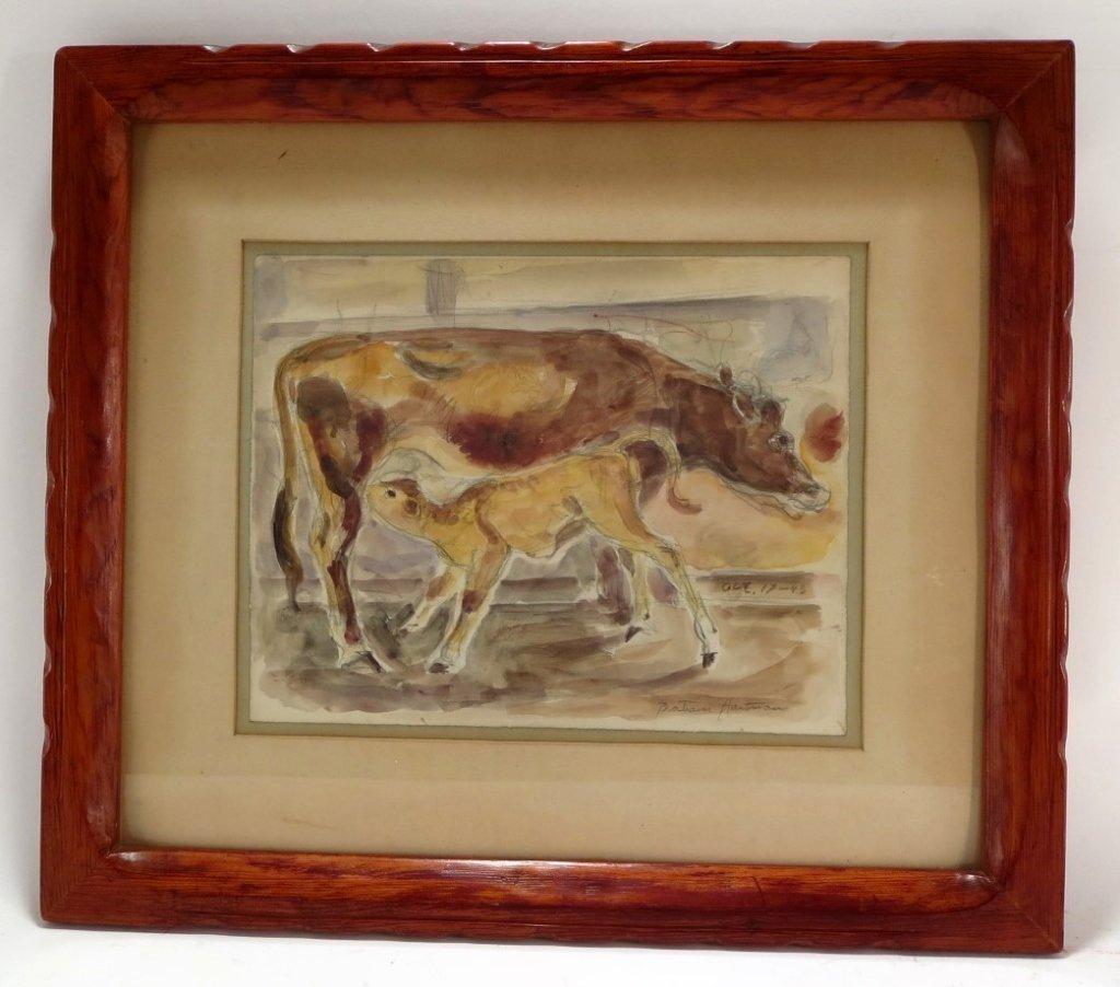 Bertram Hartman, Am., Cow with Calf, w/c on paper - 2