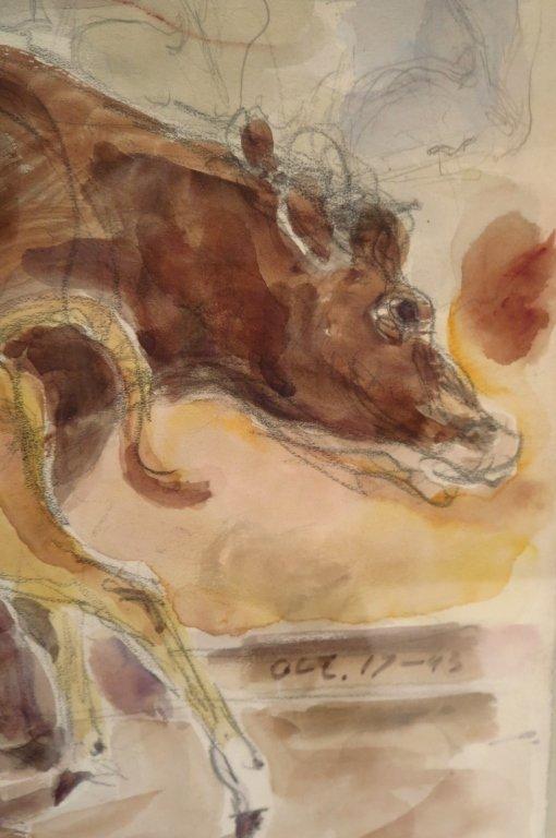 Bertram Hartman, Am., Cow with Calf, w/c on paper - 3