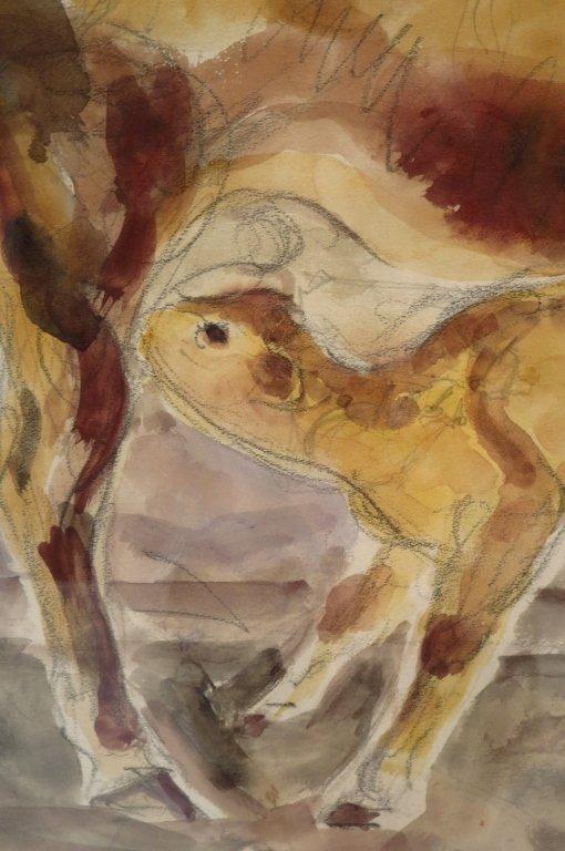 Bertram Hartman, Am., Cow with Calf, w/c on paper - 4