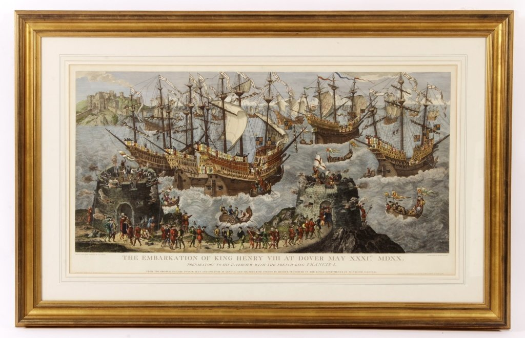 "James Basire, ""Embarkation...Henry VIII"", Panorama"