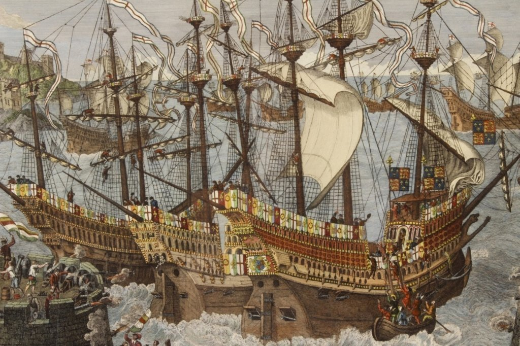 "James Basire, ""Embarkation...Henry VIII"", Panorama - 3"