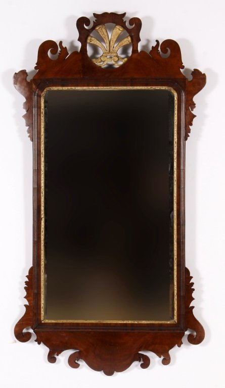 Federal Mirror w/ Gilt Plumes in Crest c. 1800