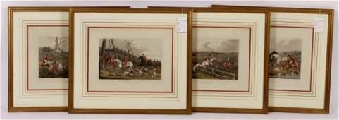 """Set of 4 """"Fox Hunting"""" Engravings, 19th C."""