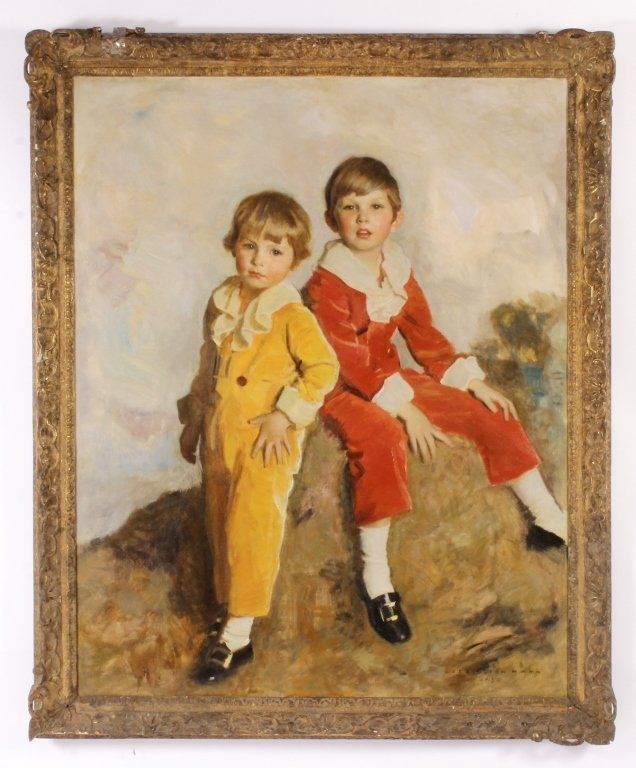 Harrington Mann 1864-1937 Two Children O/C Am 1930