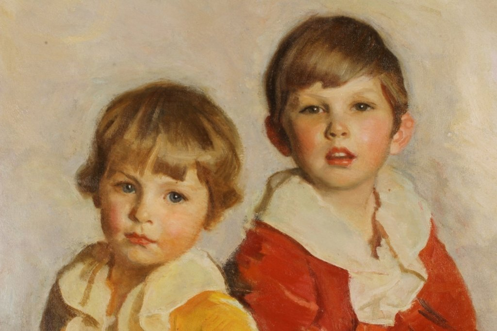 Harrington Mann 1864-1937 Two Children O/C Am 1930 - 2