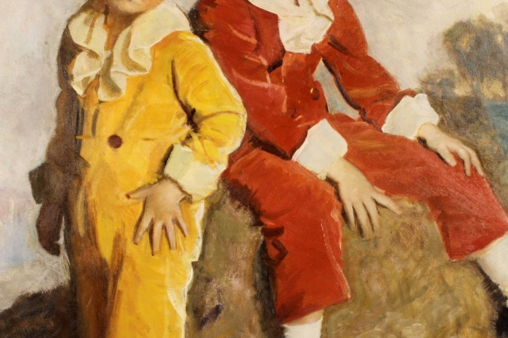 Harrington Mann 1864-1937 Two Children O/C Am 1930 - 3