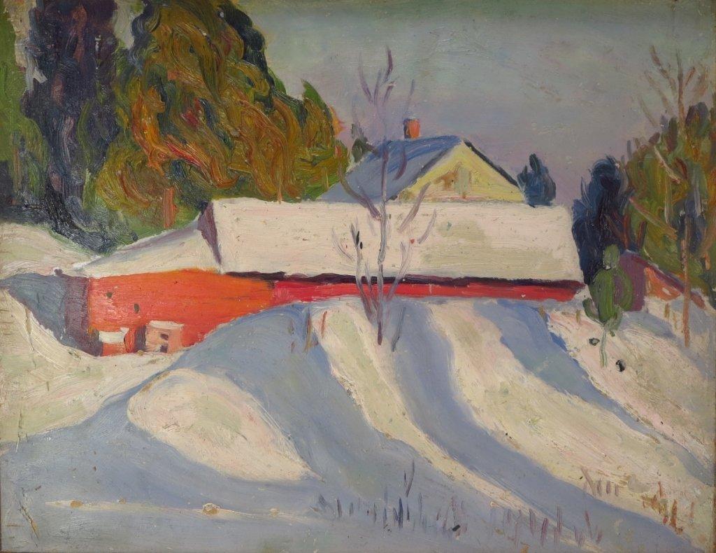 Kalman Oswald, Barn in Winter, O/B