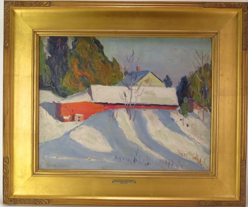 Kalman Oswald, Barn in Winter, O/B - 2