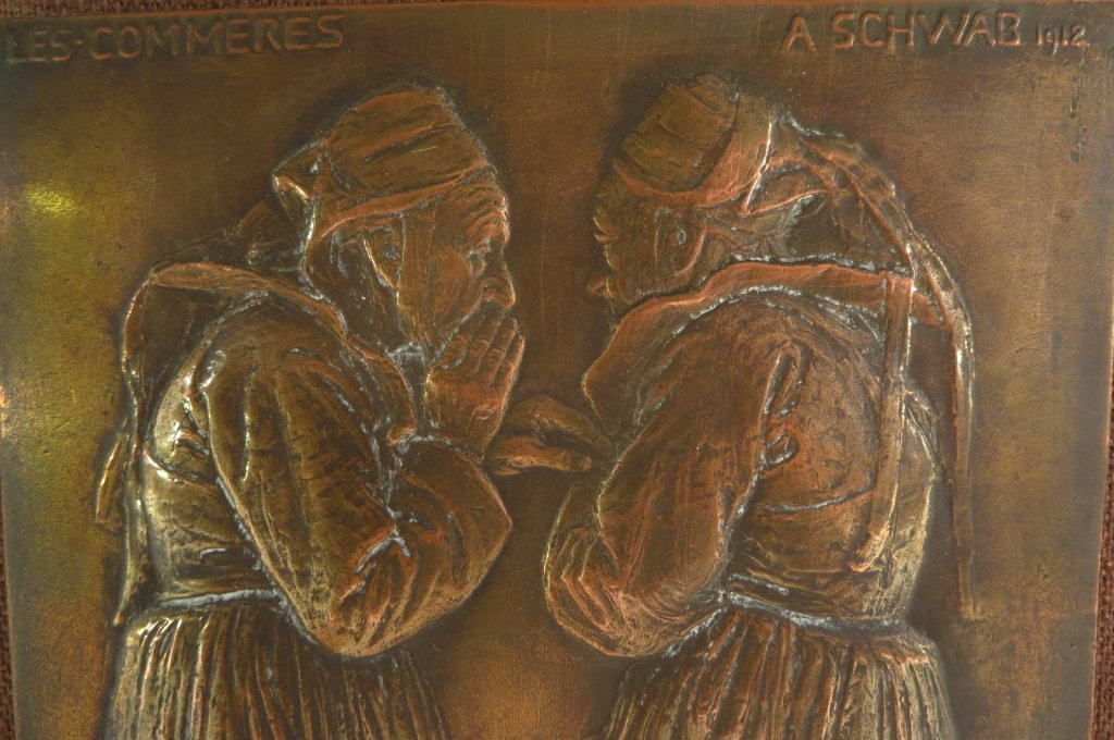 "Andre Schwab, Fr. b. 1883, ""Les Commères"" Bronze - 3"