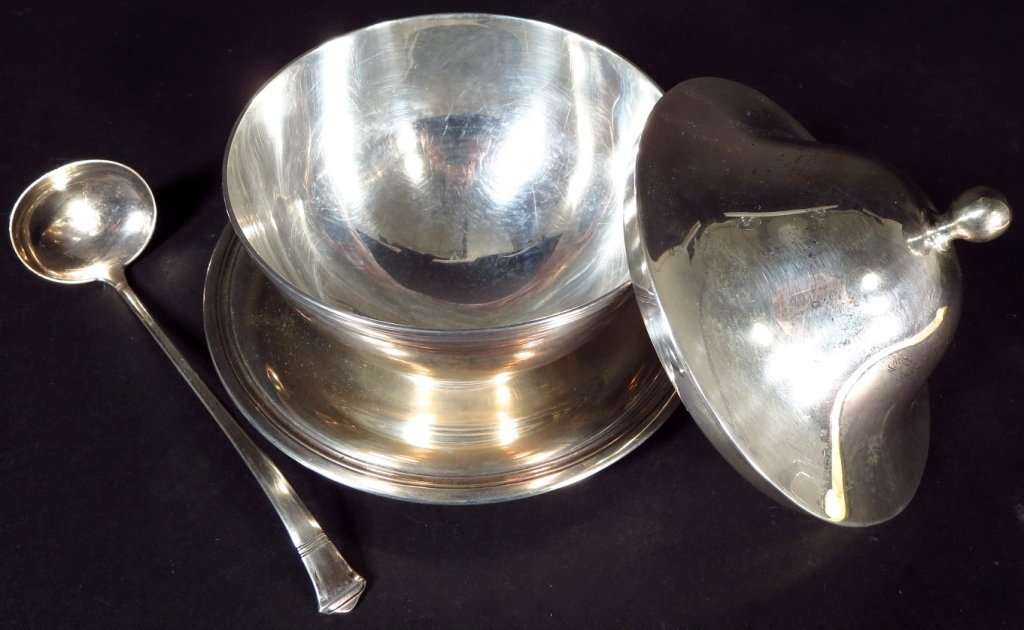 T & Co Sterling Sauce Boat, Ladle, & Under plate - 2