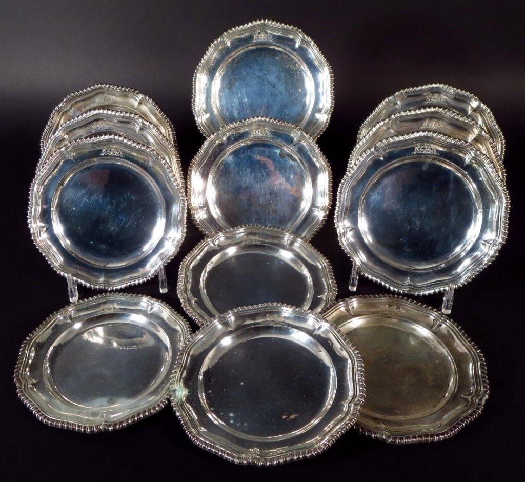12 English Sterling Dessert Plates, c. 1928
