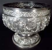 Large Colonial India Repousse Silver Bowl, c.1900