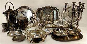 Victorian Ice Water Pitcher and other silverplate