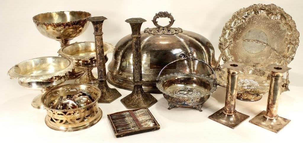 Lot of 12+ Silverplate Items w/ Large Serving Dome