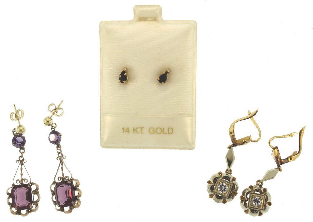 3 Pairs of 14K Earrings, Inc. Sapphire, Amethyst