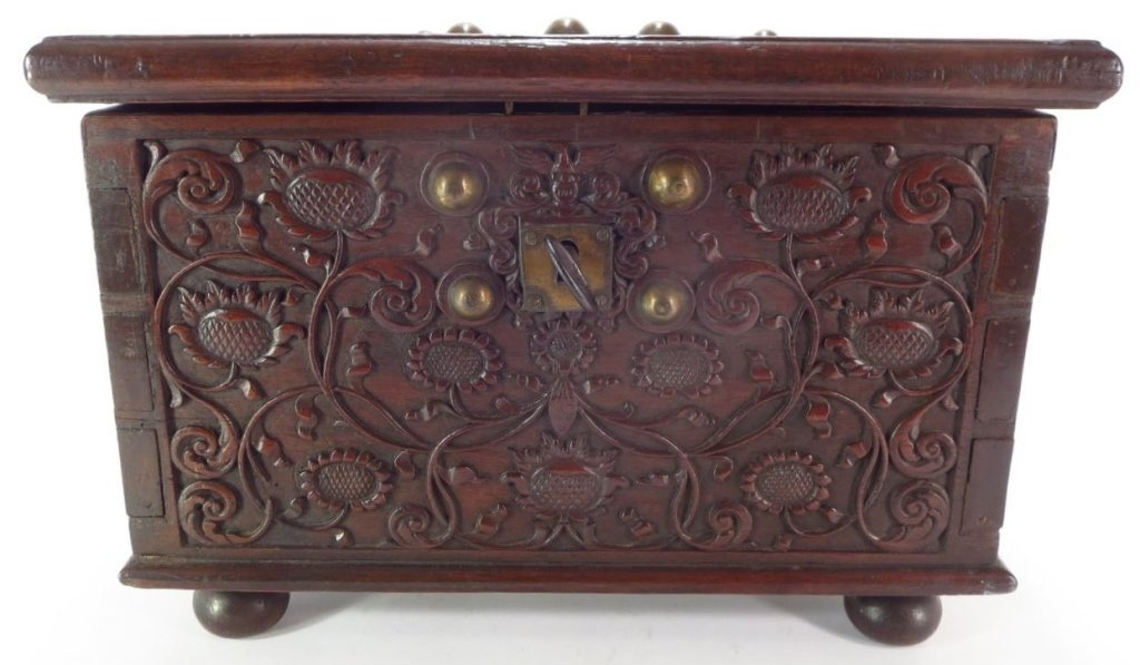 17th C. Continental Floral Carved Oak Chest