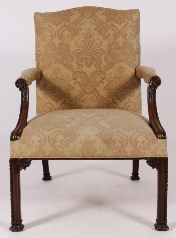 Georgian Carved Mahogany Library Chair, 18thC.