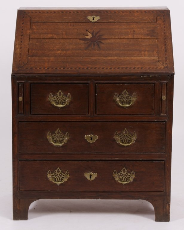 Early Georgian Oak and Inlaid Mahogany Desk,18thC
