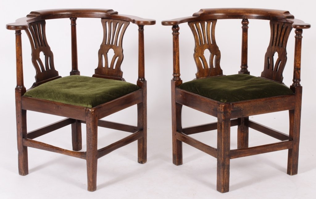 Pair of George III Oak Corner Chairs, 18th C.
