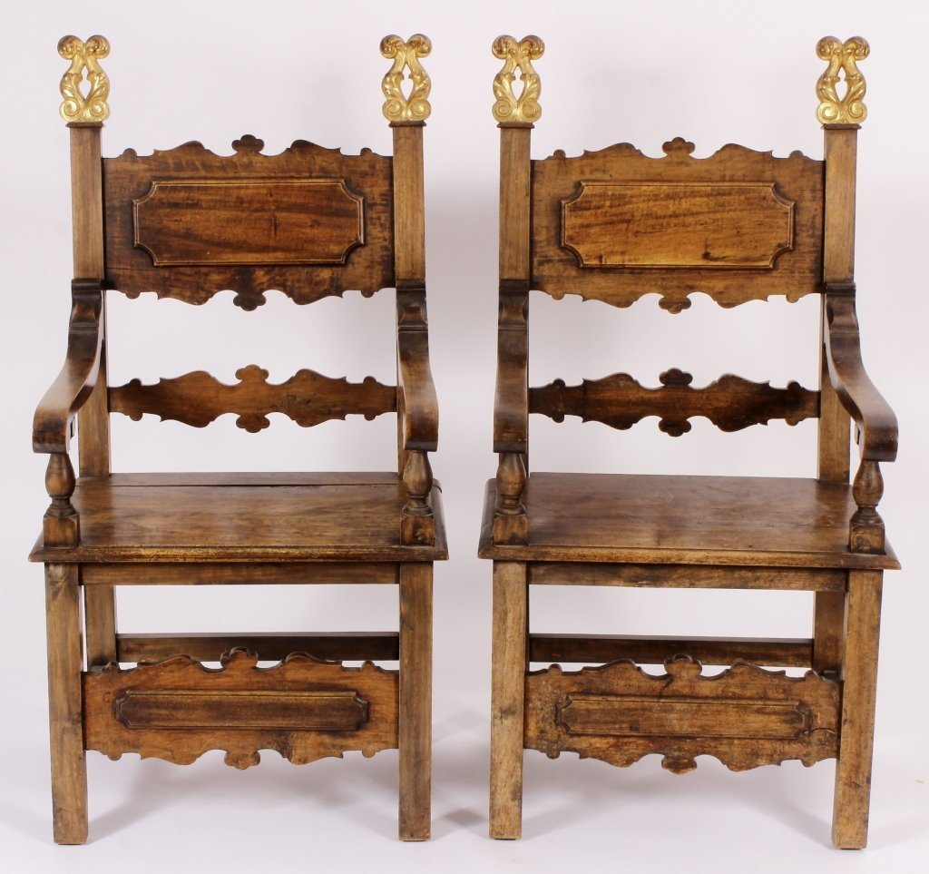 Pair of Italian 17th C. Style  Armchairs 20th C.
