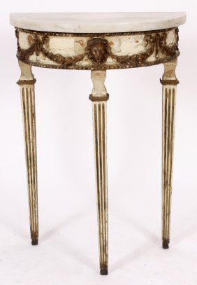 Petite Paint-Decorated Marble Top Console, 18th c.