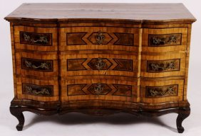 South German Inlaid Baroque Commode,18th C.