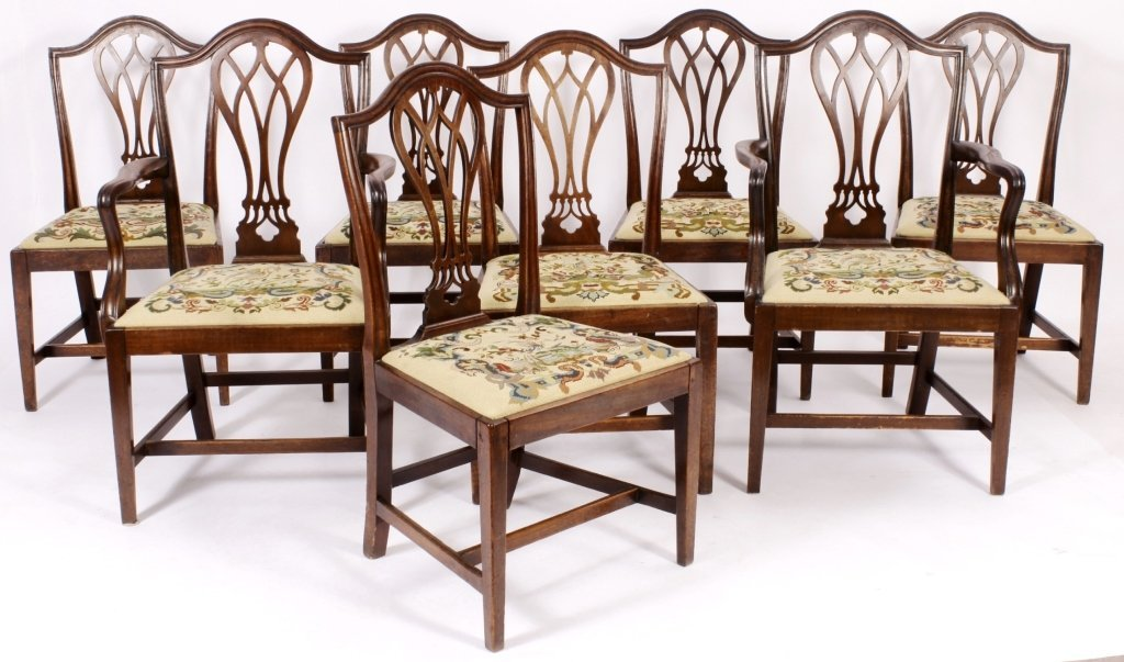 Set of 8 George III Dining Chairs, English c.1800