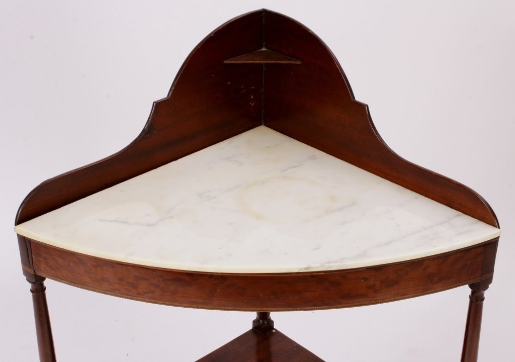 Mahogany Corner Washstand w/ Inlay c. 1900 - 2