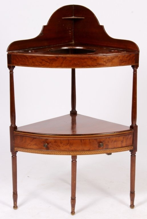 Mahogany Corner Washstand w/ Inlay c. 1900 - 3