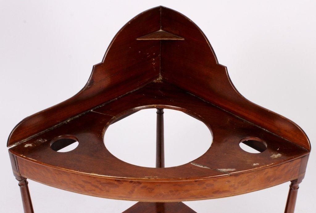 Mahogany Corner Washstand w/ Inlay c. 1900 - 4