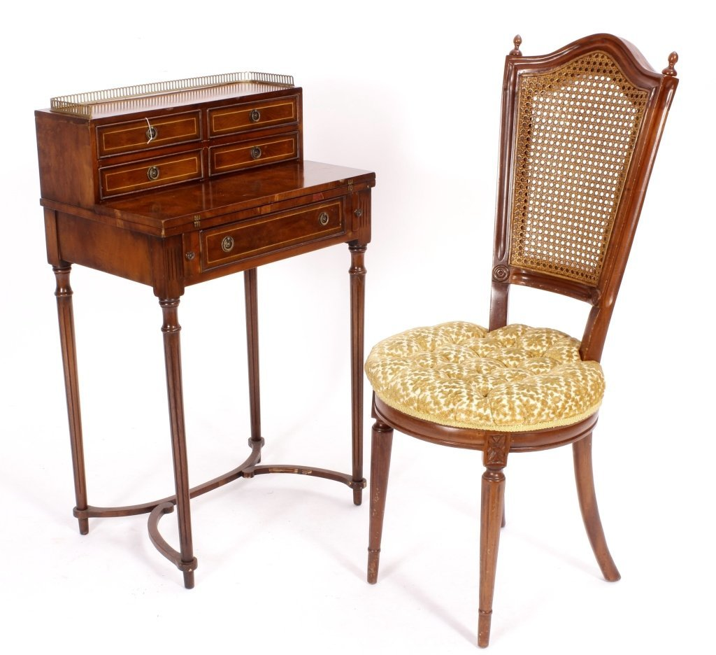 Two Items, Ladies Writing Desk & Caned Side Chair