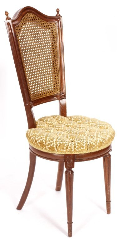 Two Items, Ladies Writing Desk & Caned Side Chair - 2