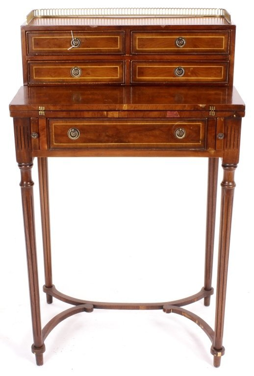 Two Items, Ladies Writing Desk & Caned Side Chair - 3