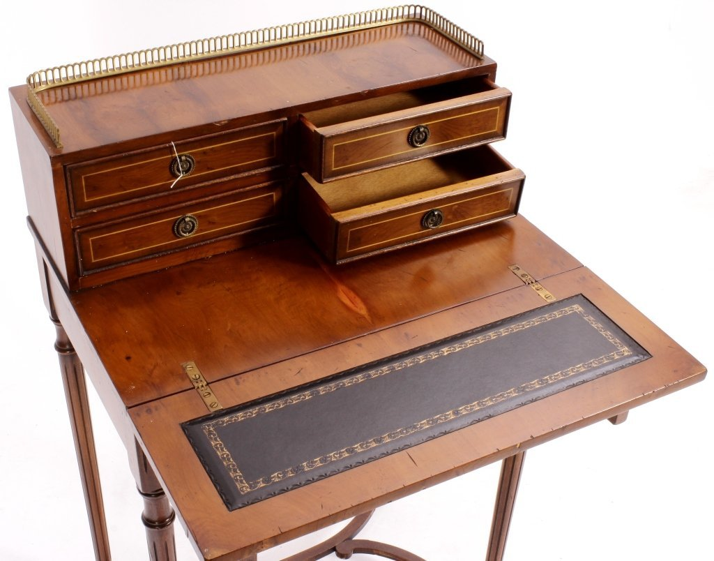 Two Items, Ladies Writing Desk & Caned Side Chair - 6