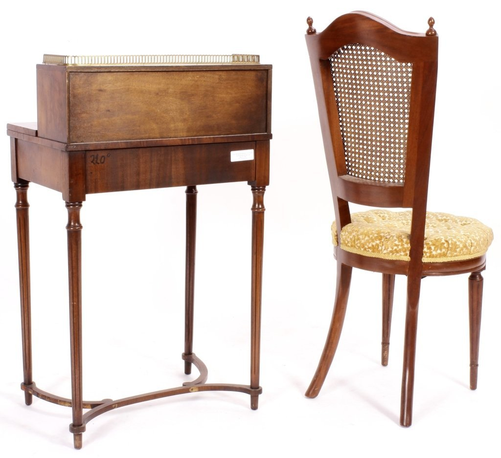 Two Items, Ladies Writing Desk & Caned Side Chair - 7