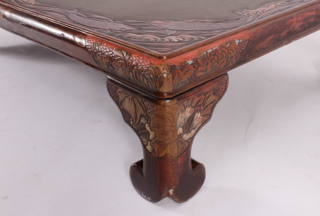 Asian Lacquered Coffee Table - 5