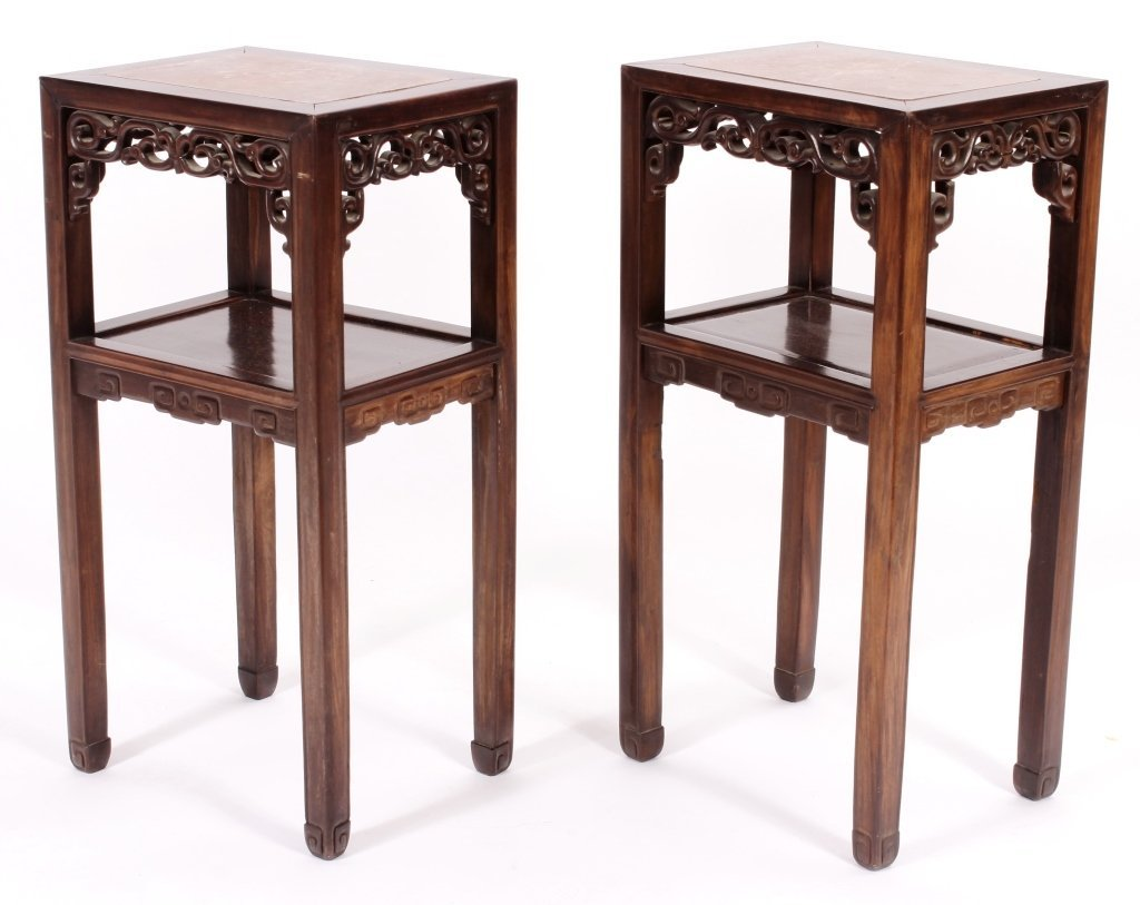 Pr. of Asian Carved Hardwood/Marble Side Tables