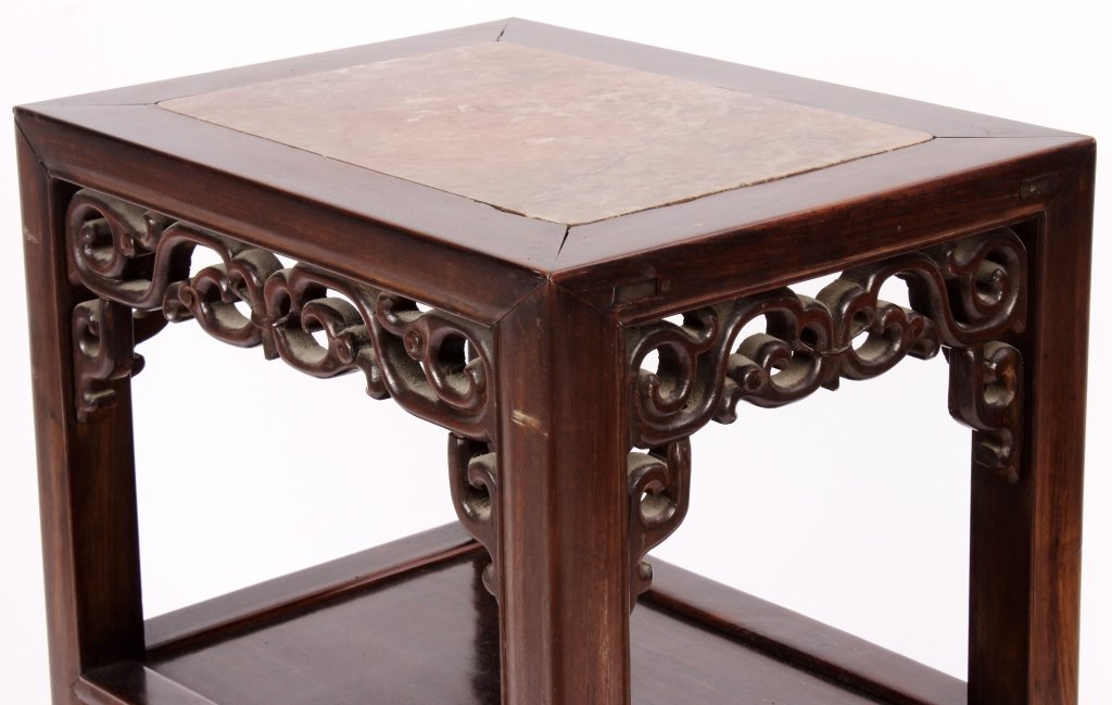 Pr. of Asian Carved Hardwood/Marble Side Tables - 2