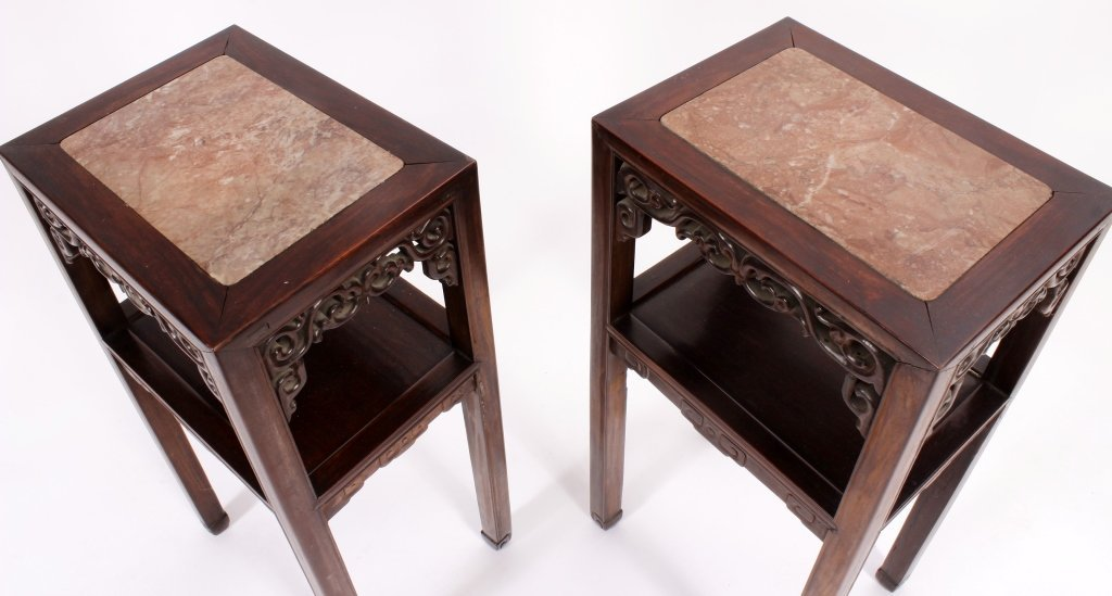 Pr. of Asian Carved Hardwood/Marble Side Tables - 3