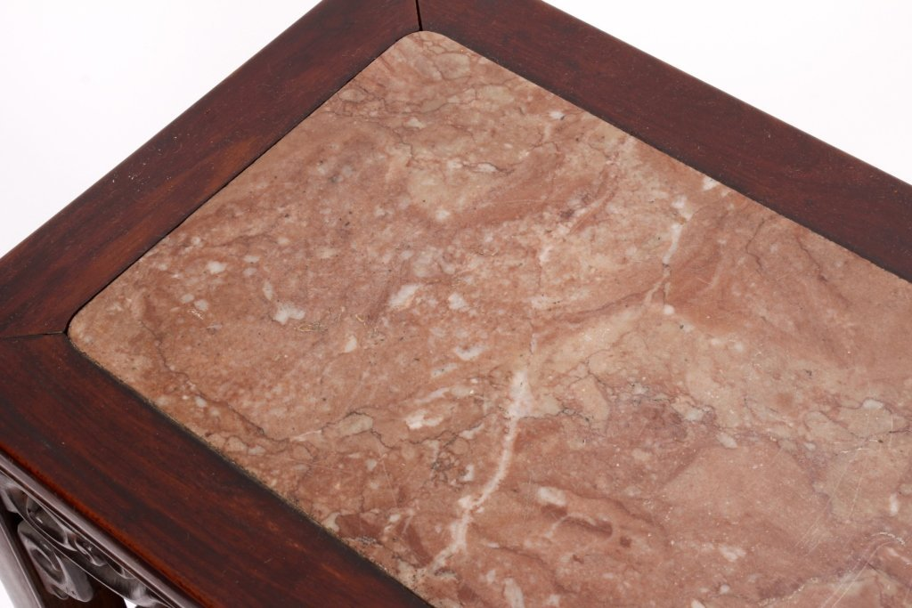 Pr. of Asian Carved Hardwood/Marble Side Tables - 4
