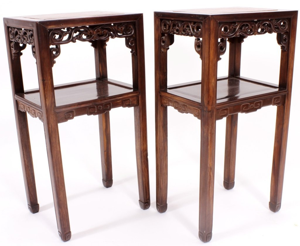 Pr. of Asian Carved Hardwood/Marble Side Tables - 5