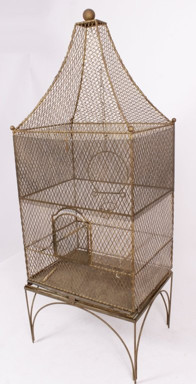 19th C. French Painted Metal Birdcage with Base